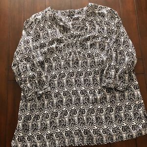 Talbots cotton popover top with 3/4 sleeves